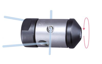"""pipe cleaning nozzle drainspeed 10, 1000 bar, 1/4"""" inner thread 2x135°/2x90°/0/0 Ø28mm,"""