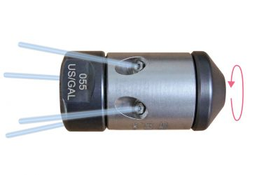 """pipe cleaning nozzle drainspeed 10, 1000 bar, 1/4"""" inner thread 4x135°/0/0/0, Ø28mm, nozzle"""