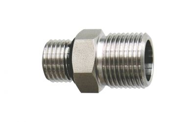 """nozzle holder 500 bar, 1/4"""" outer thread x 3/8"""" outer thread for coupling nut"""