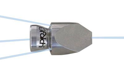 "pipe cleaning nozzle drainclean 5, 500 bar, 1/4"" inner thread 3x155°/0/0/1x0° Ø30mm,"