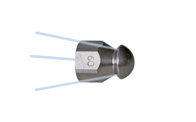 """pipe cleaning nozzle drainclean 5, 500 bar, 1/4"""" inner thread 3x135°/0/0/0 Ø19mm, nozzle"""