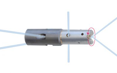 pipe cleaning nozzle drainspeed 10, 1000 bar, M7 inner thread 2x150°/2x95°/0/2x45° x-jet,